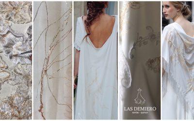 Vestidos únicos con desarrollo textil. Pintados y bordados a mano